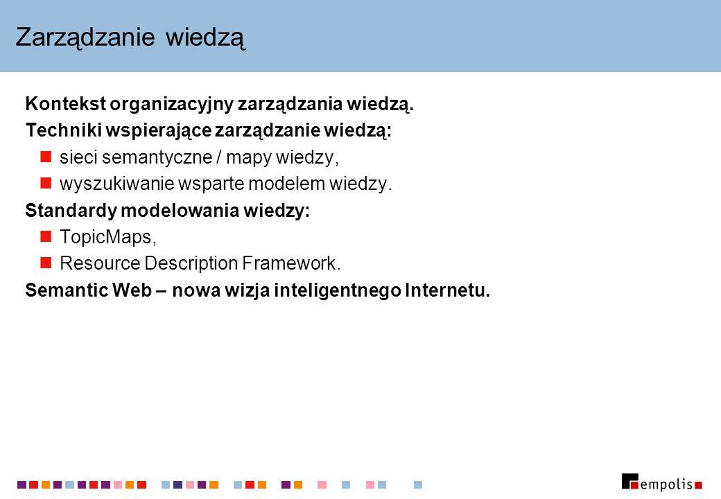 Wiedza operacyjna a wiedza abstrakcyjna Wiedza operacyjna: opisuje konkretne instancje obiektów i ich własności, np.: klienta Jana Kowalskiego, polisę nr 1234-5678/2002; często się zmienia, ma charakter relacji bazodanowych.