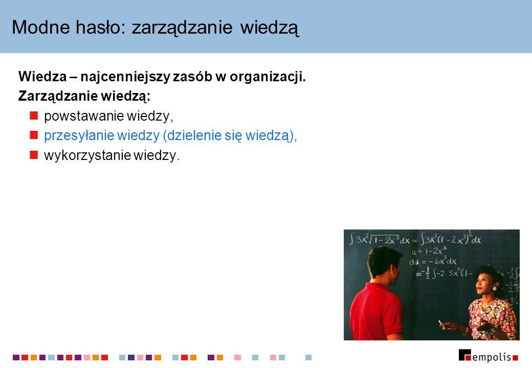 Gdzie szukać dalej Analizy i raporty n/t zarządzania wiedzą www.egov.pl/km/index.php Knowledge Management Portal www.kmportal.pl topicmap.com www.topicmap.com Learn more about Topic Maps www.ontopia.net/topicmaps/learn_more.html
