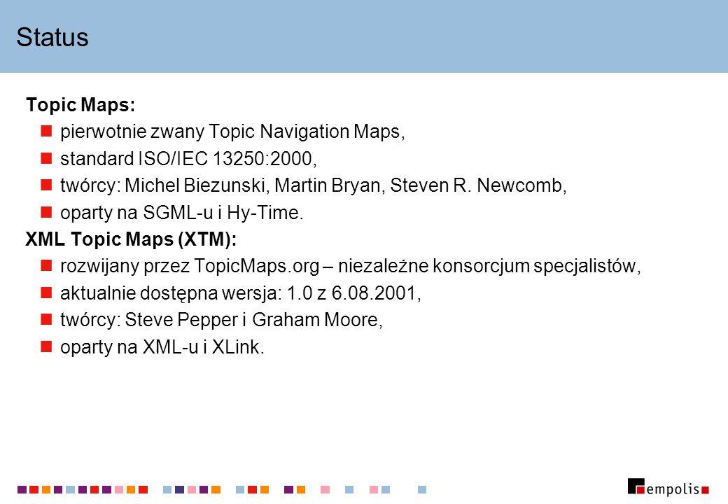 Status Topic Maps: pierwotnie zwany Topic Navigation Maps, standard ISO/IEC 13250:2000, twórcy: Michel Biezunski, Martin Bryan, Steven R. Newcomb, opa