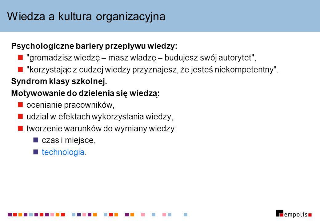 Wiedza a kultura organizacyjna Psychologiczne bariery przepływu wiedzy: