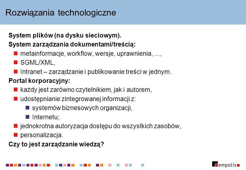 Rozwiązania technologiczne System plików (na dysku sieciowym). System zarządzania dokumentami/treścią: metainformacje, workflow, wersje, uprawnienia,.