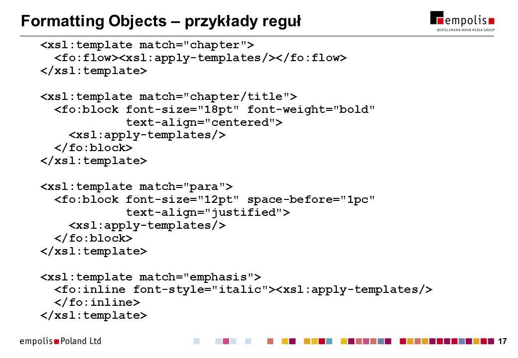 17 Formatting Objects – przykłady reguł
