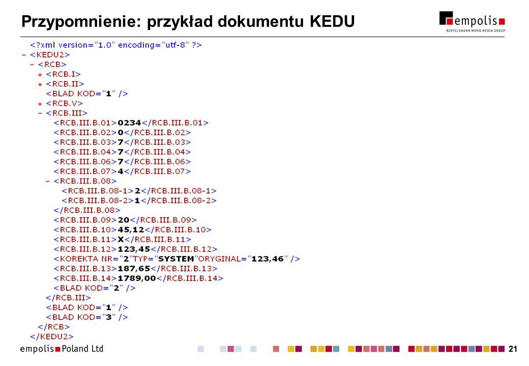 21 Przypomnienie: przykład dokumentu KEDU