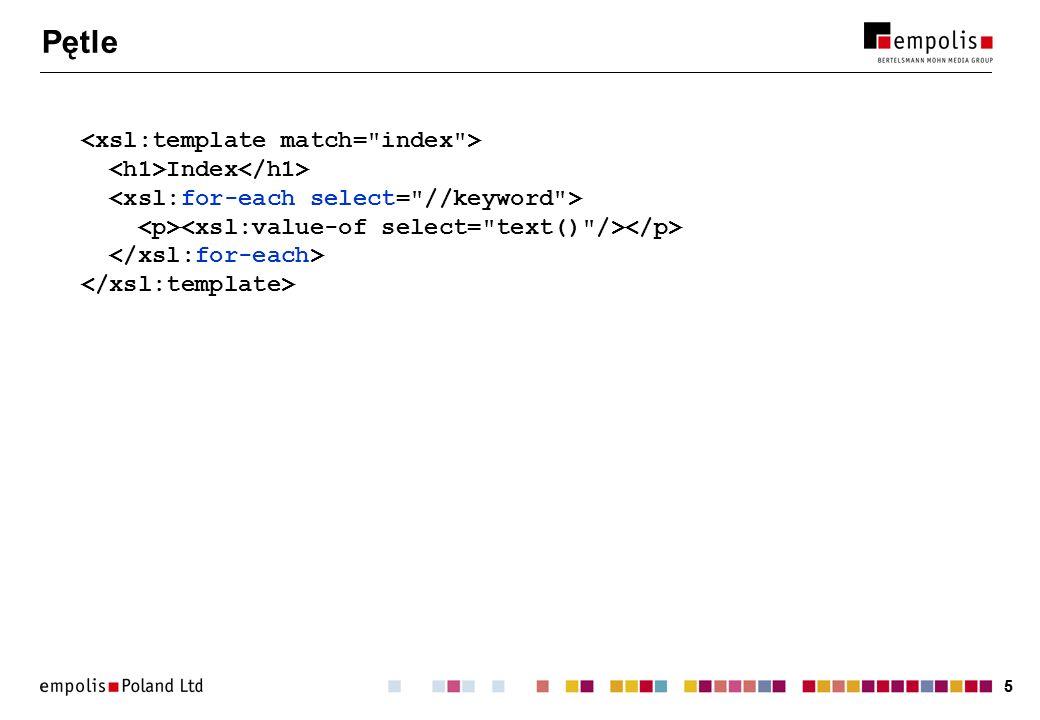 66 Sortowanie Instrukcja sortowania: może występować wewnątrz apply-templates i for-each.