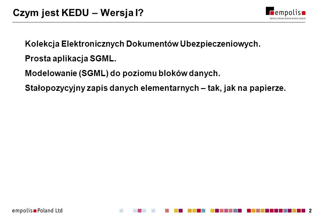22 Czym jest KEDU – Wersja I? Kolekcja Elektronicznych Dokumentów Ubezpieczeniowych. Prosta aplikacja SGML. Modelowanie (SGML) do poziomu bloków danyc