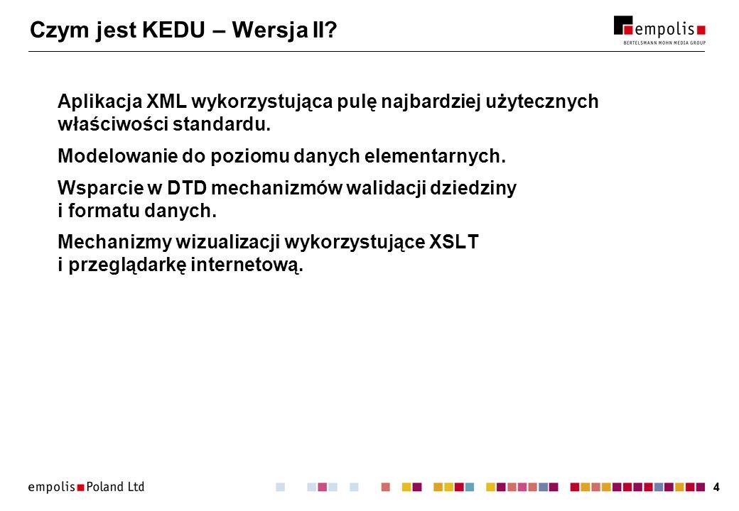 44 Czym jest KEDU – Wersja II? Aplikacja XML wykorzystująca pulę najbardziej użytecznych właściwości standardu. Modelowanie do poziomu danych elementa