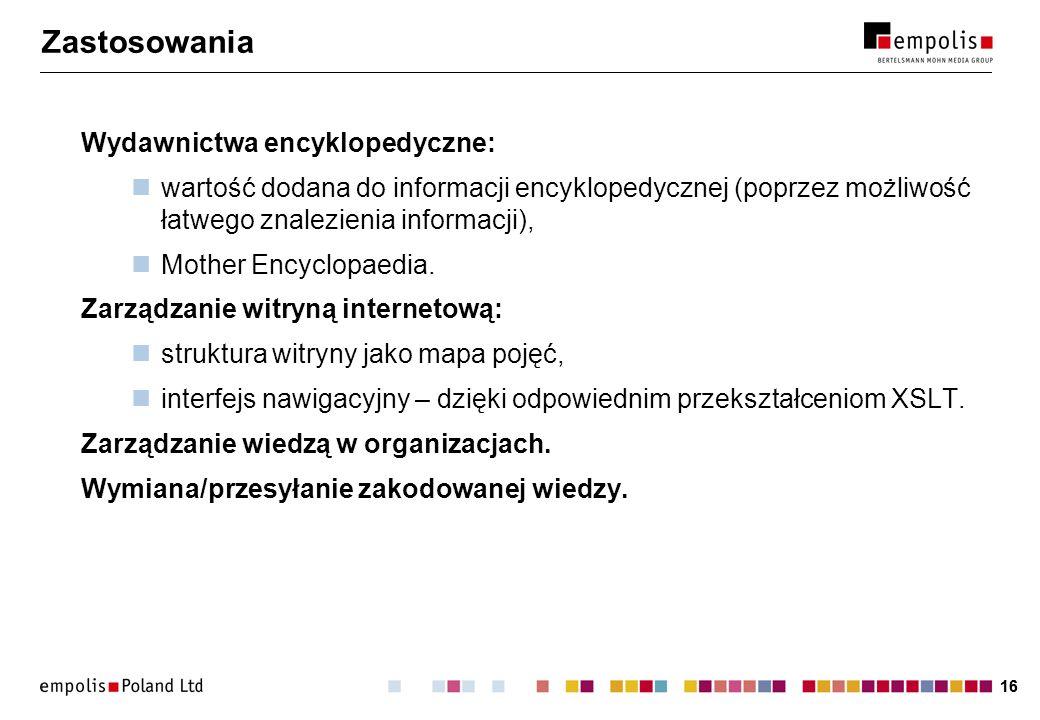 16 Zastosowania Wydawnictwa encyklopedyczne: wartość dodana do informacji encyklopedycznej (poprzez możliwość łatwego znalezienia informacji), Mother