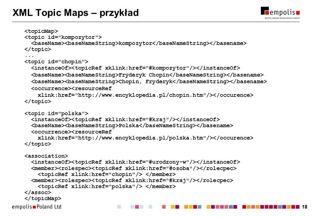 18 XML Topic Maps – przykład kompozytor... Fryderyk Chopin Chopin, Fryderyk Polska