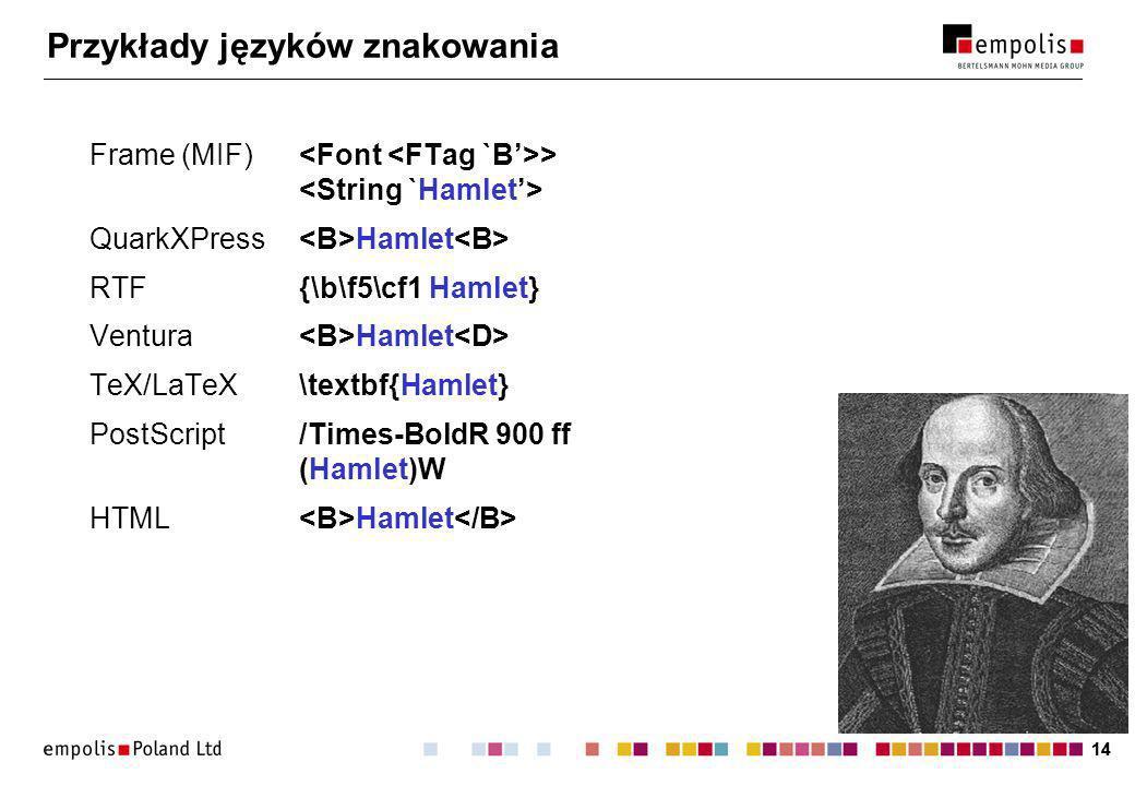 14 Przykłady języków znakowania Frame (MIF) > QuarkXPress Hamlet RTF{\b\f5\cf1 Hamlet} Ventura Hamlet TeX/LaTeX\textbf{Hamlet} PostScript /Times-BoldR 900 ff (Hamlet)W HTML Hamlet
