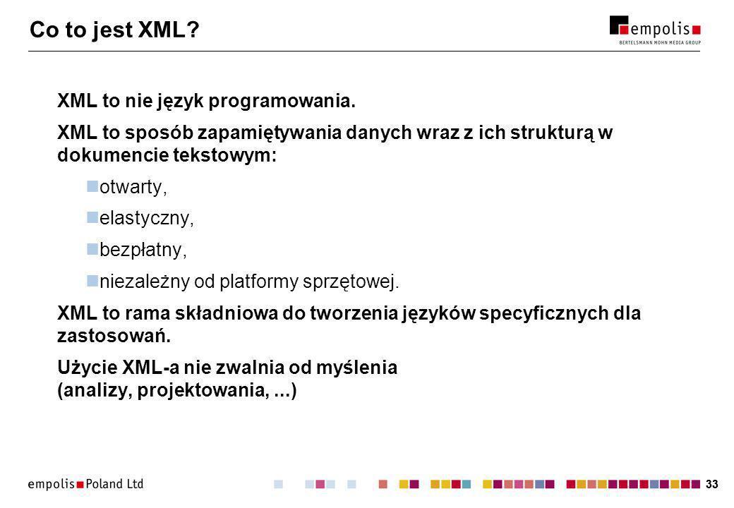 33 Co to jest XML. XML to nie język programowania.