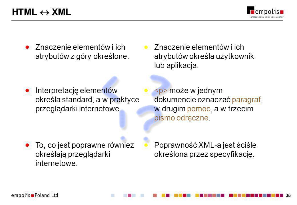 35 HTML XML Znaczenie elementów i ich atrybutów z góry określone.