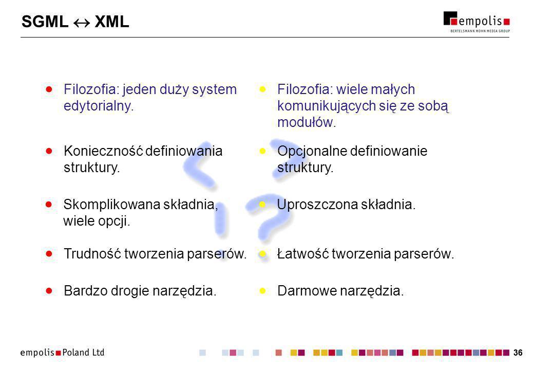 36 SGML XML Filozofia: jeden duży system edytorialny.