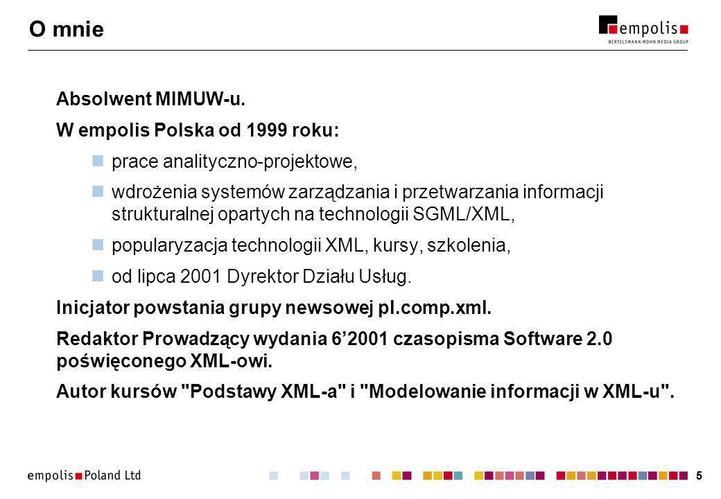 26 Idea SGML/XML (1) Oddzielenie znaczenia tekstu od sposobu prezentacji.