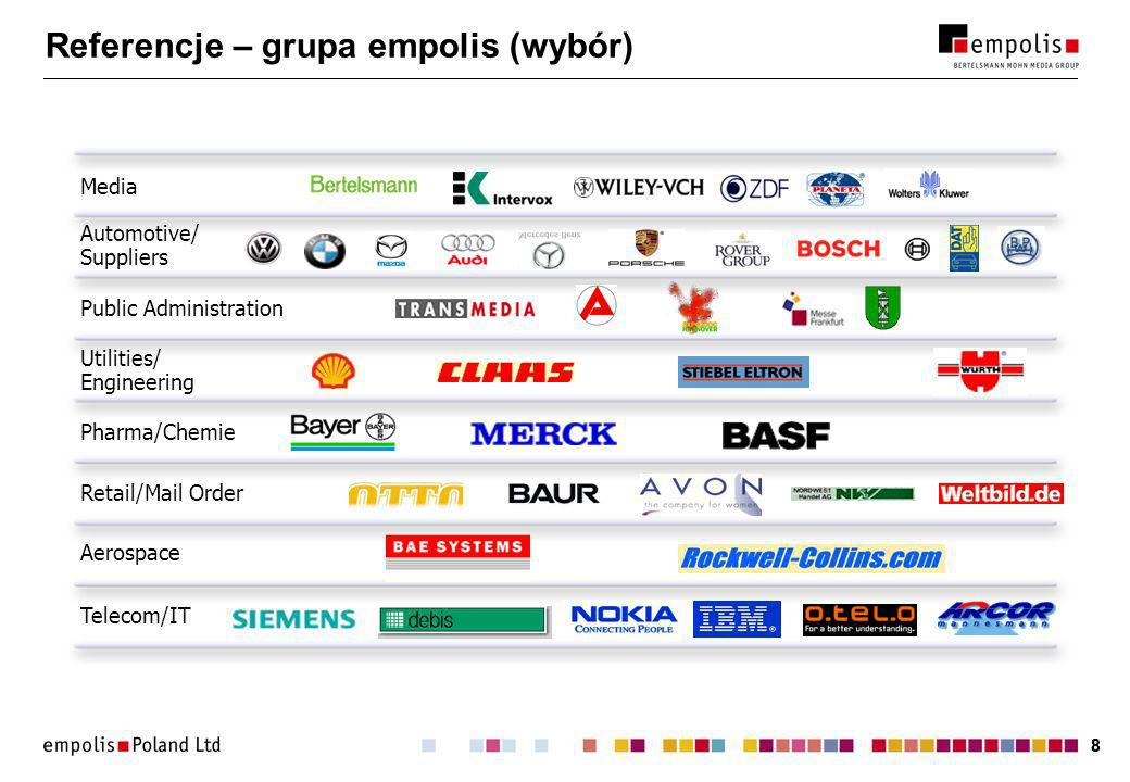 88 Automotive/ Suppliers Public Administration Utilities/ Engineering Aerospace Telecom/IT Retail/Mail Order Pharma/Chemie Media Referencje – grupa empolis (wybór)