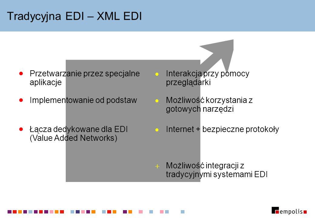 Tradycyjna EDI – XML EDI Łącza dedykowane dla EDI (Value Added Networks) Możliwość korzystania z gotowych narzędzi Implementowanie od podstaw Internet