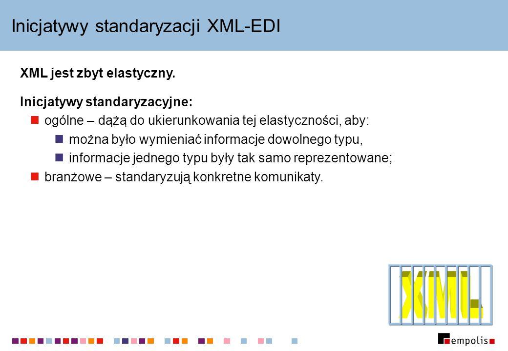 Inicjatywy standaryzacji XML-EDI Inicjatywy standaryzacyjne: ogólne – dążą do ukierunkowania tej elastyczności, aby: można było wymieniać informacje d