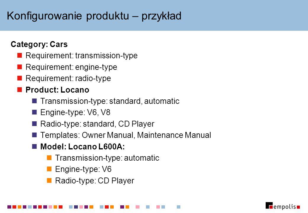 Konfigurowanie produktu – przykład Category: Cars Requirement: transmission-type Requirement: engine-type Requirement: radio-type Product: Locano Tran