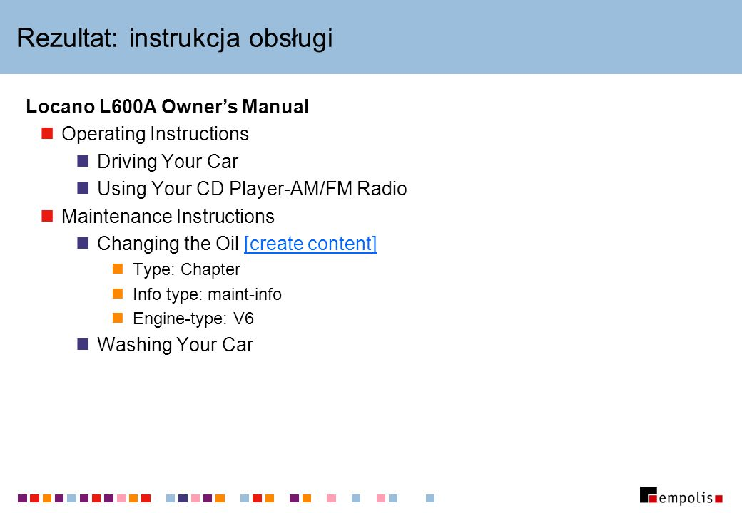 Rezultat: instrukcja obsługi Locano L600A Owners Manual Operating Instructions Driving Your Car Using Your CD Player-AM/FM Radio Maintenance Instructi