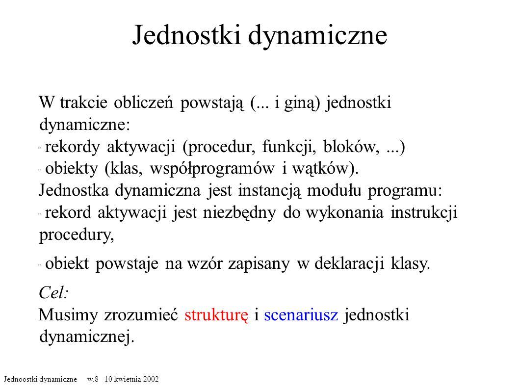 Jednostki dynamiczne W trakcie obliczeń powstają (... i giną) jednostki dynamiczne: