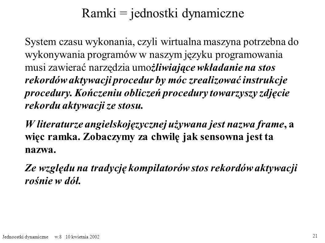 Ramki = jednostki dynamiczne System czasu wykonania, czyli wirtualna maszyna potrzebna do wykonywania programów w naszym języku programowania musi zawierać narzędzia umo żliwiające wkładanie na stos rekordów aktywacji procedur by móc zrealizować instrukcje procedury.