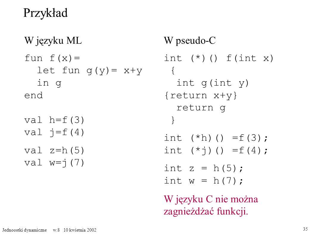 Przykład W języku ML fun f(x)= let fun g(y)= x+y in g end val h=f(3) val j=f(4) val z=h(5) val w=j(7) 35 Jednoostki dynamiczne w.8 10 kwietnia 2002 W pseudo-C int (*)() f(int x) { int g(int y) {return x+y} return g } int (*h)() =f(3); int (*j)() =f(4); int z = h(5); int w = h(7); W języku C nie można zagnieżdżać funkcji.