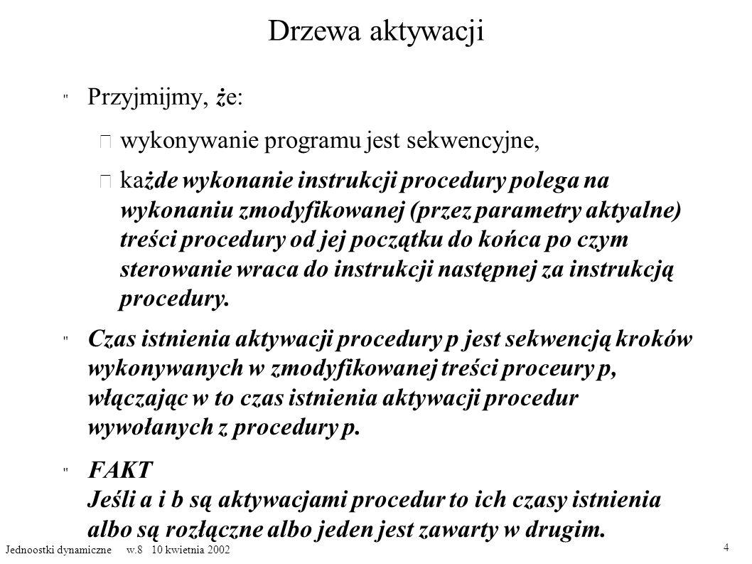 Drzewa aktywacji Przyjmijmy, ż e: – wykonywanie programu jest sekwencyjne, ka żde wykonanie instrukcji procedury polega na wykonaniu zmodyfikowanej (p