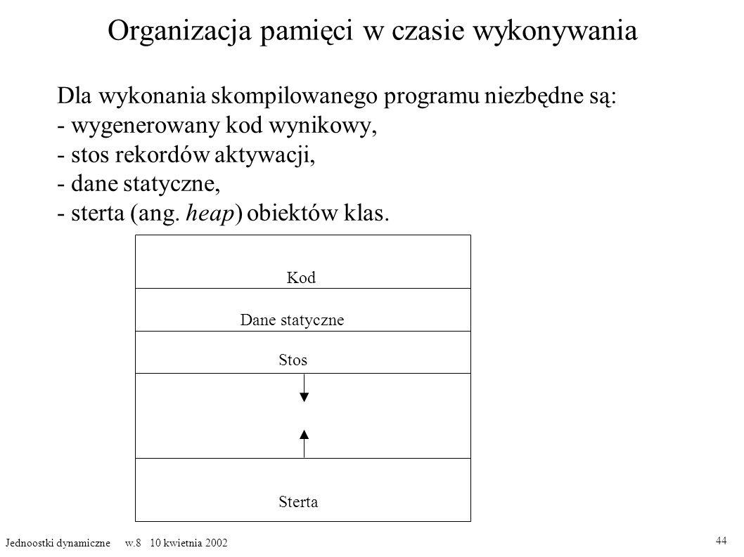 Organizacja pamięci w czasie wykonywania Dla wykonania skompilowanego programu niezbędne są: - wygenerowany kod wynikowy, - stos rekordów aktywacji, - dane statyczne, - sterta (ang.