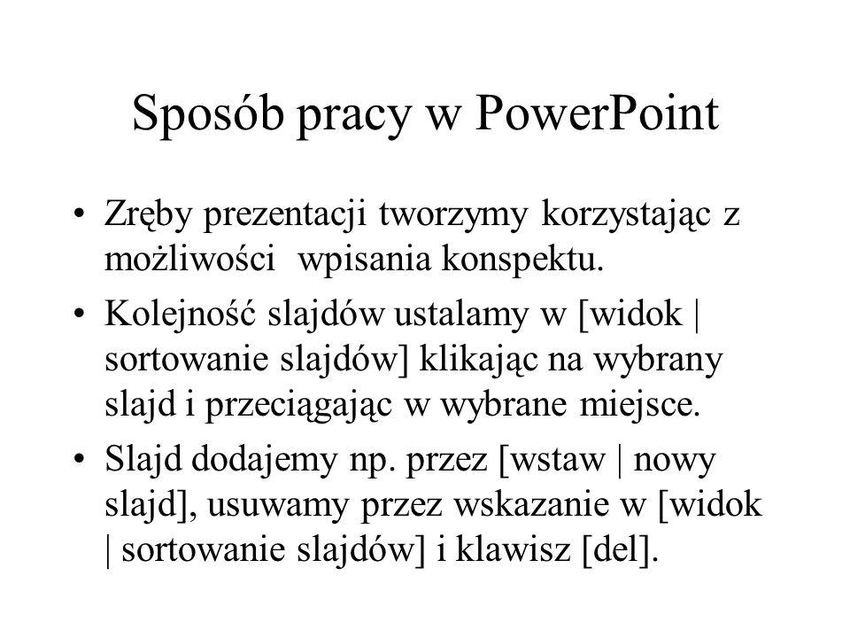 Sposób pracy w PowerPoint Zręby prezentacji tworzymy korzystając z możliwości wpisania konspektu. Kolejność slajdów ustalamy w [widok | sortowanie sla