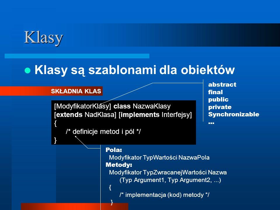Klasy Klasy są szablonami dla obiektów [ModyfikatorKlasy] class NazwaKlasy [extends NadKlasa] [implements Interfejsy] { /* definicje metod i pól */ }