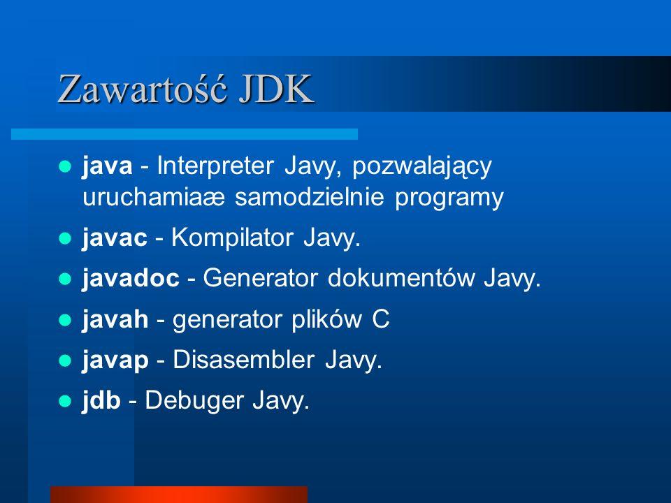 Zawartość JDK java - Interpreter Javy, pozwalający uruchamiaæ samodzielnie programy javac - Kompilator Javy.