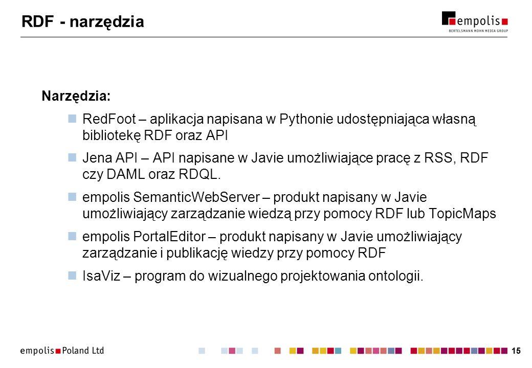 15 RDF - narzędzia Narzędzia: RedFoot – aplikacja napisana w Pythonie udostępniająca własną bibliotekę RDF oraz API Jena API – API napisane w Javie umożliwiające pracę z RSS, RDF czy DAML oraz RDQL.