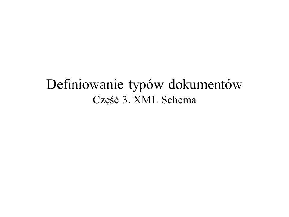 2008-10-23Definiowanie typów dokumentów – część 3: XML Schema2 Wbudowane typy proste Źródło: XML Enhancements to Java (XJ).