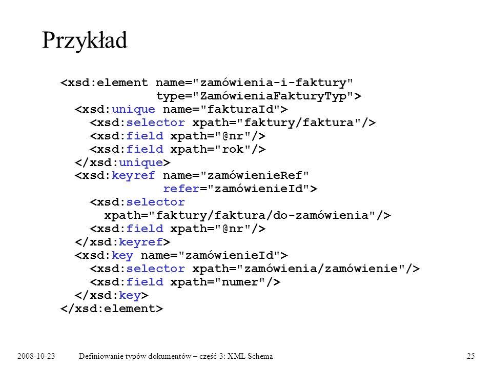 2008-10-23Definiowanie typów dokumentów – część 3: XML Schema25 Przykład