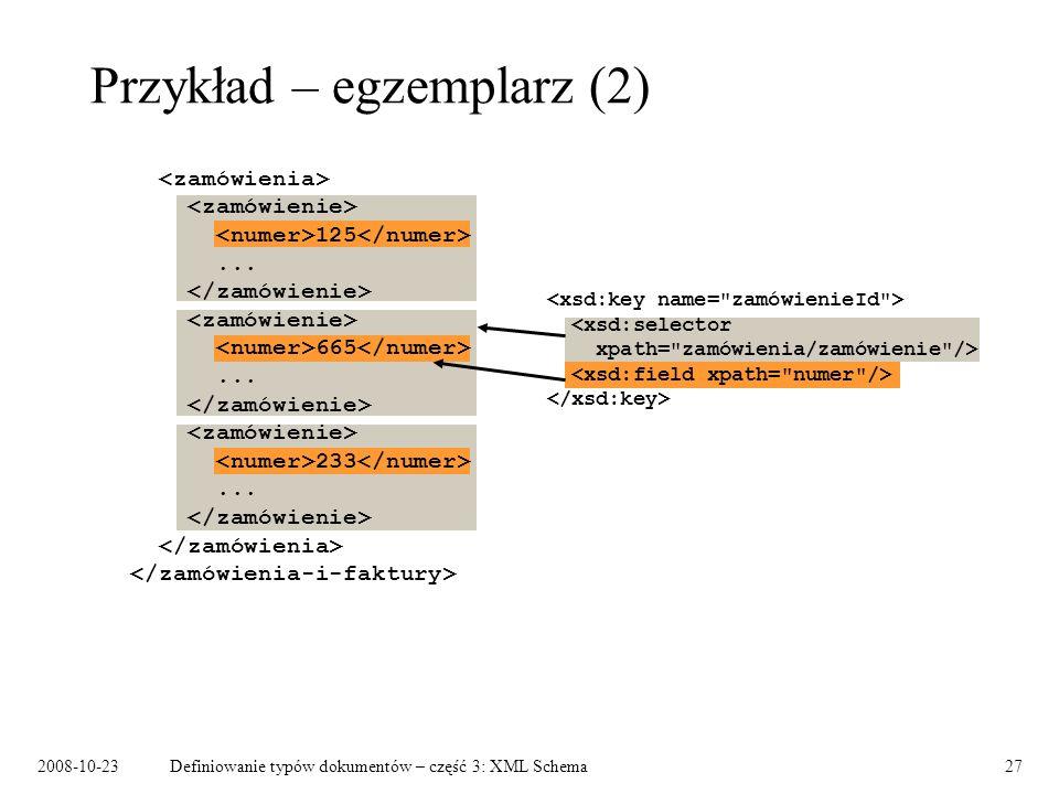 2008-10-23Definiowanie typów dokumentów – część 3: XML Schema27 Przykład – egzemplarz (2) 125...