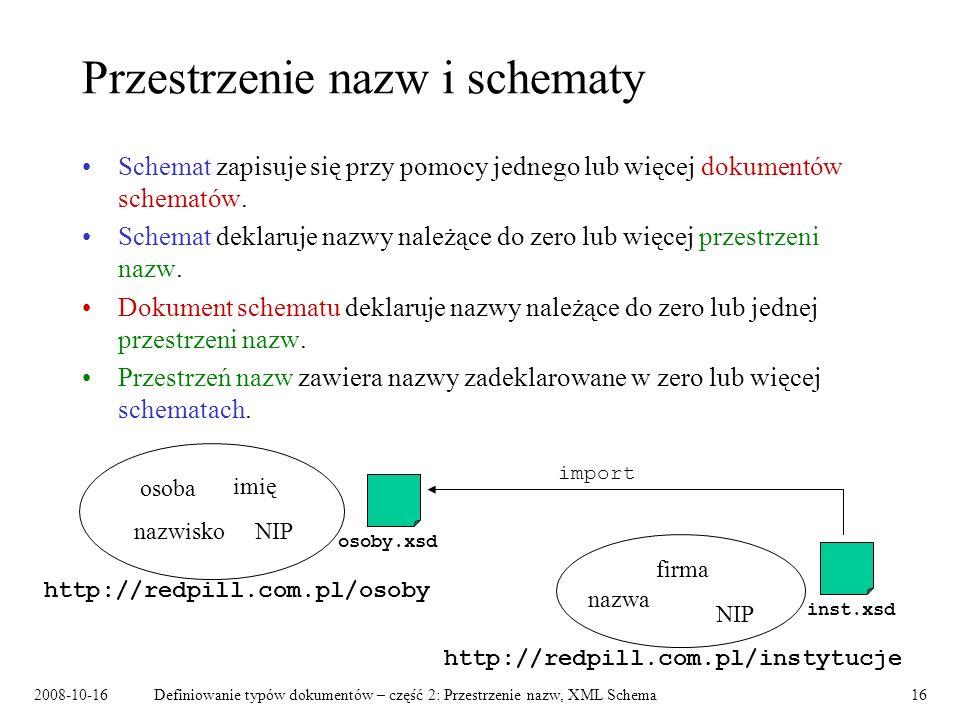 2008-10-16Definiowanie typów dokumentów – część 2: Przestrzenie nazw, XML Schema16 Przestrzenie nazw i schematy Schemat zapisuje się przy pomocy jedne