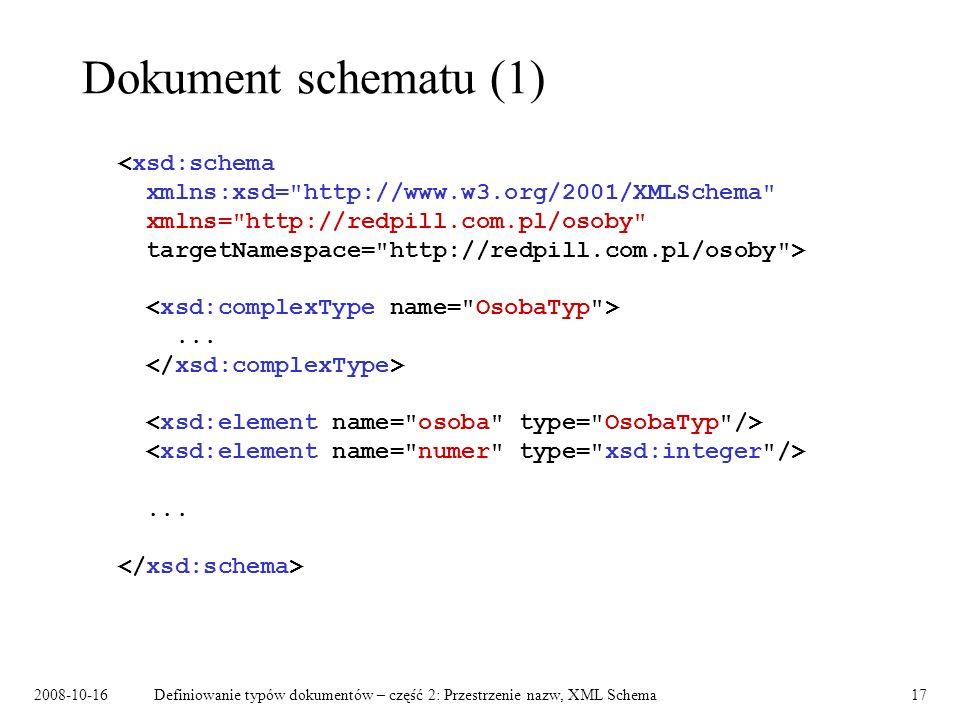 2008-10-16Definiowanie typów dokumentów – część 2: Przestrzenie nazw, XML Schema17 Dokument schematu (1)......