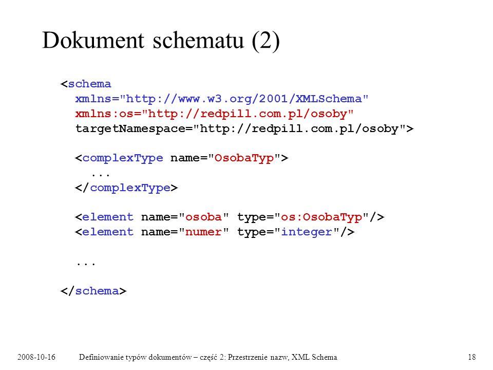 2008-10-16Definiowanie typów dokumentów – część 2: Przestrzenie nazw, XML Schema18 Dokument schematu (2)......
