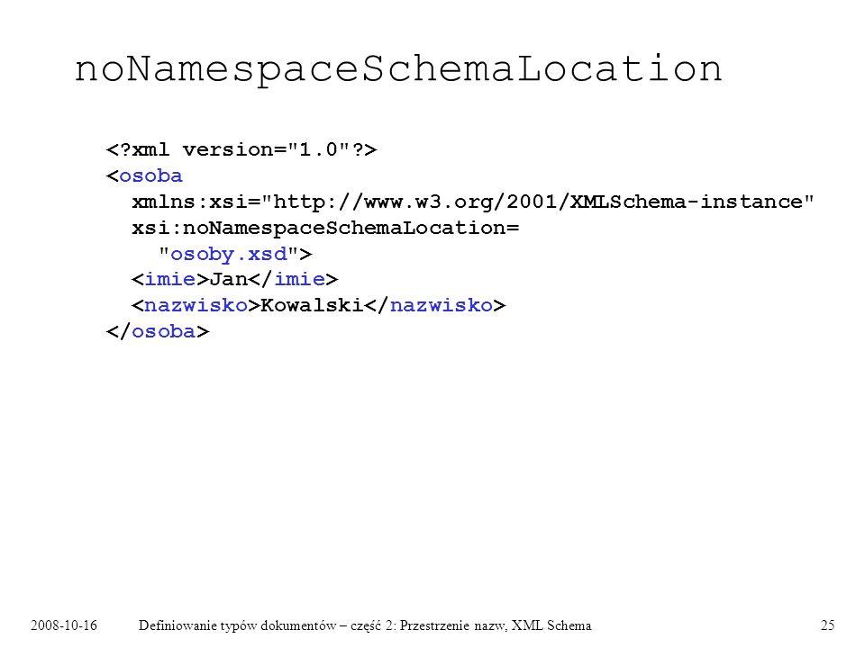 2008-10-16Definiowanie typów dokumentów – część 2: Przestrzenie nazw, XML Schema25 noNamespaceSchemaLocation Jan Kowalski