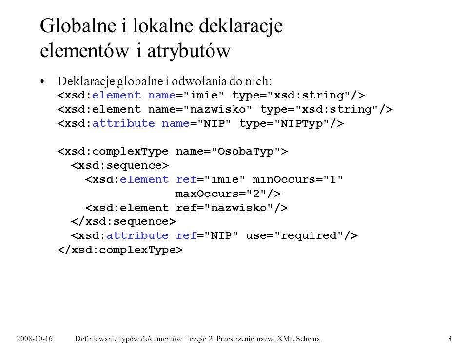 2008-10-16Definiowanie typów dokumentów – część 2: Przestrzenie nazw, XML Schema3 Globalne i lokalne deklaracje elementów i atrybutów Deklaracje globa