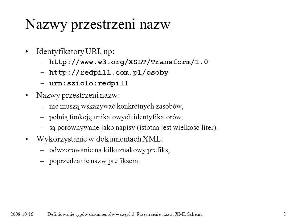 2008-10-16Definiowanie typów dokumentów – część 2: Przestrzenie nazw, XML Schema19 Łączenie dokumentów schematów Schemat zapisuje się przy pomocy jednego lub więcej dokumentów schematów.