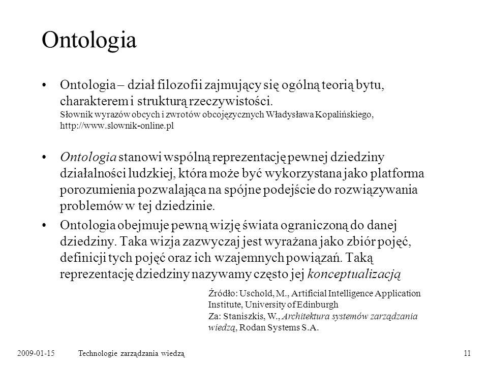 2009-01-15Technologie zarządzania wiedzą11 Ontologia Ontologia – dział filozofii zajmujący się ogólną teorią bytu, charakterem i strukturą rzeczywistości.