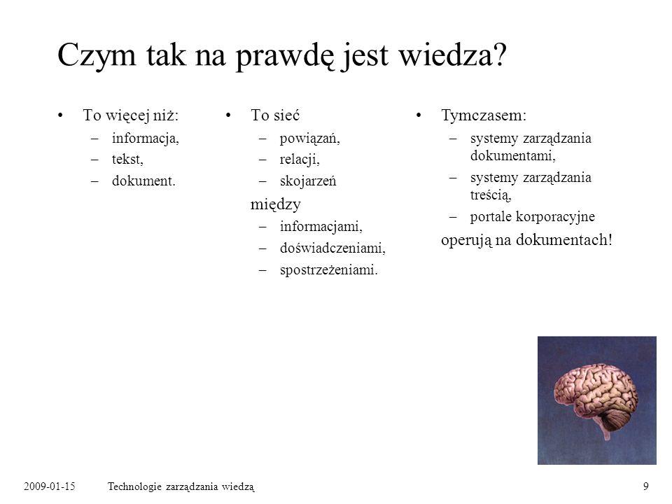 2009-01-15Technologie zarządzania wiedzą10 Wiedza a technologia Modelowanie wiedzy: –ontologia – schemat modelowanej dziedziny: typy pojęć, typy relacji między pojęciami, –mapa wiedzy: abstrakcyjne pojęcia, powiązania między pojęciami, wystąpienia pojęć w dokumentach.