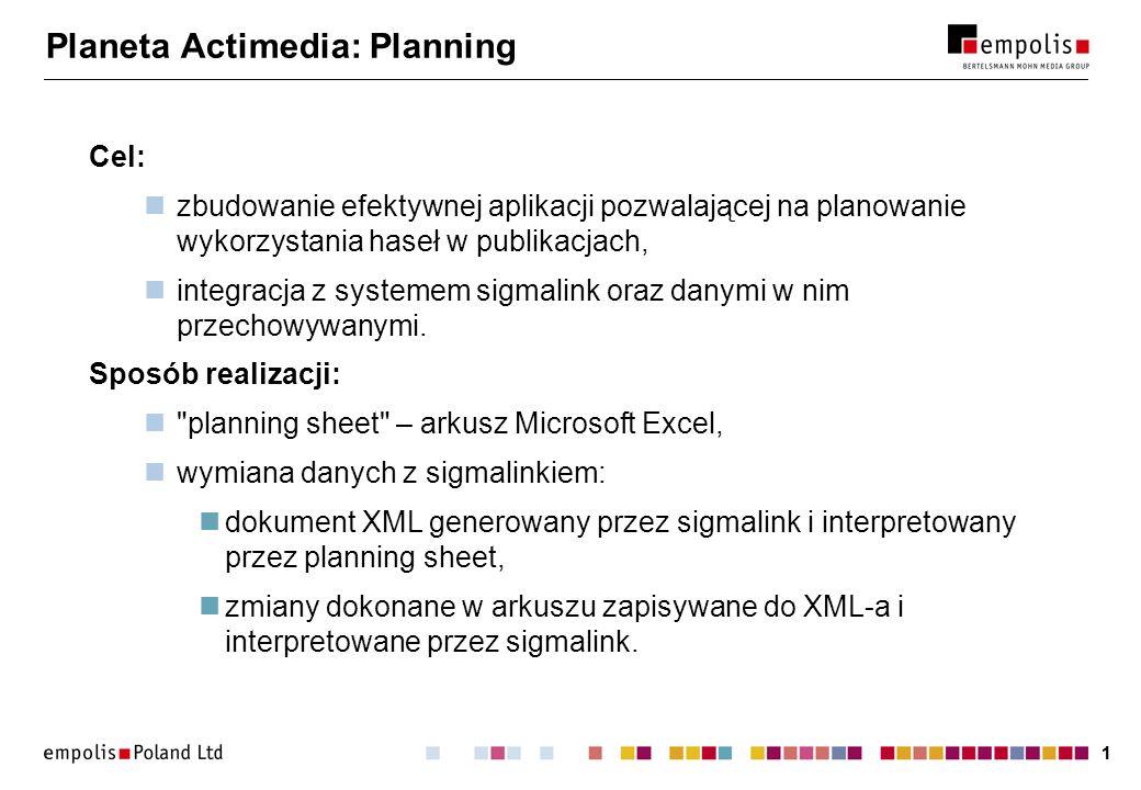 11 Planeta Actimedia: Planning Cel: zbudowanie efektywnej aplikacji pozwalającej na planowanie wykorzystania haseł w publikacjach, integracja z systemem sigmalink oraz danymi w nim przechowywanymi.