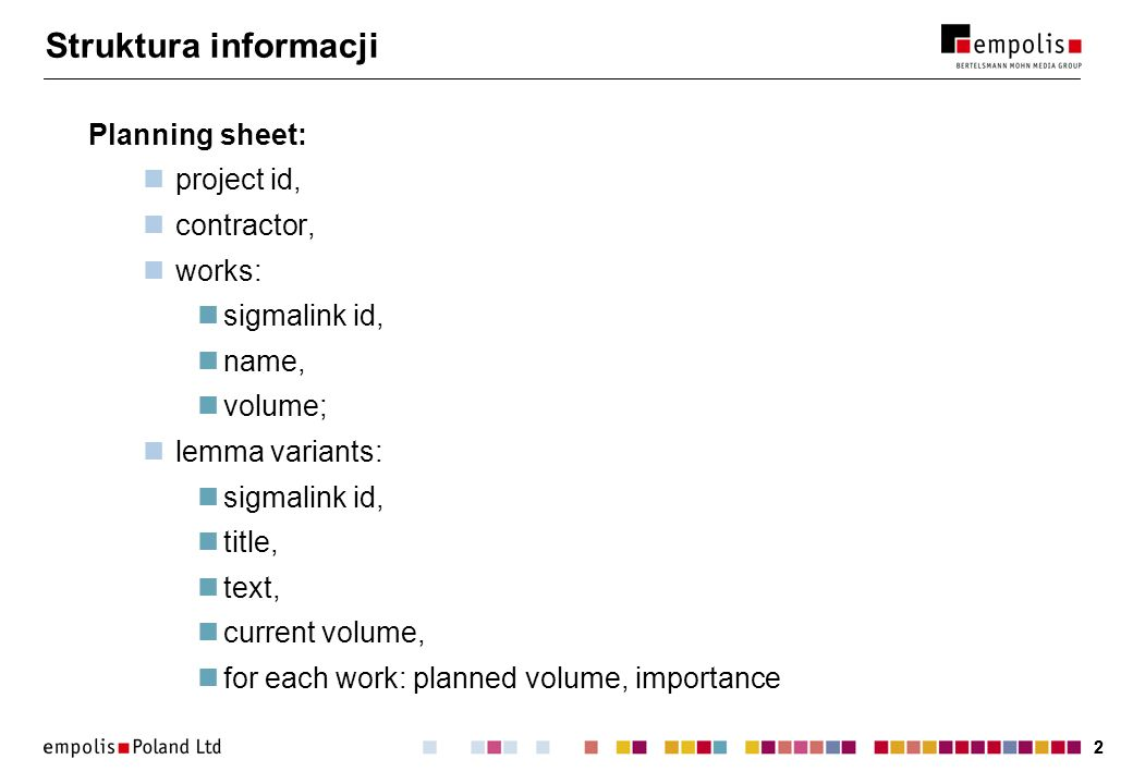 22 Struktura informacji Planning sheet: project id, contractor, works: sigmalink id, name, volume; lemma variants: sigmalink id, title, text, current