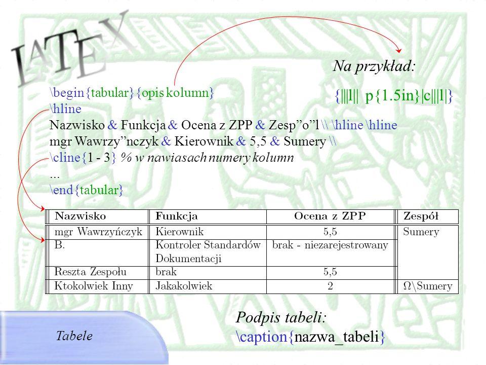 \begin{tabular}{opis kolumn} \hline Nazwisko & Funkcja & Ocena z ZPP & Zespol \\ \hline \hline mgr Wawrzynczyk & Kierownik & 5,5 & Sumery \\ \cline{1