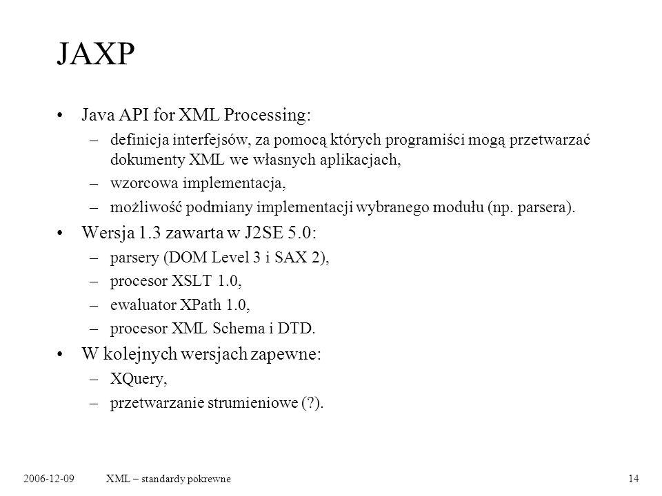 2006-12-09XML – standardy pokrewne14 JAXP Java API for XML Processing: –definicja interfejsów, za pomocą których programiści mogą przetwarzać dokument
