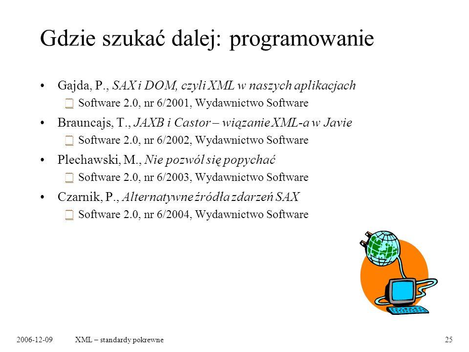 2006-12-09XML – standardy pokrewne25 Gdzie szukać dalej: programowanie Gajda, P., SAX i DOM, czyli XML w naszych aplikacjach Software 2.0, nr 6/2001, Wydawnictwo Software Brauncajs, T., JAXB i Castor – wiązanie XML-a w Javie Software 2.0, nr 6/2002, Wydawnictwo Software Plechawski, M., Nie pozwól się popychać Software 2.0, nr 6/2003, Wydawnictwo Software Czarnik, P., Alternatywne źródła zdarzeń SAX Software 2.0, nr 6/2004, Wydawnictwo Software