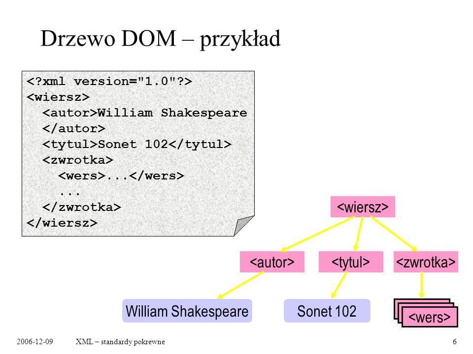 2006-12-09XML – standardy pokrewne6 Drzewo DOM – przykład William Shakespeare Sonet 102... William ShakespeareSonet 102