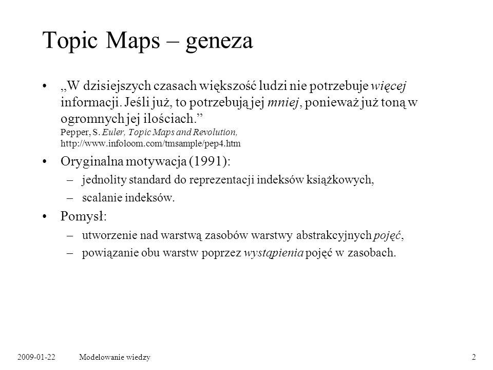 2009-01-22Modelowanie wiedzy3 Pojęcia (topics) Pojęcie: –abstrakcyjny byt, –co autor miał na myśli.