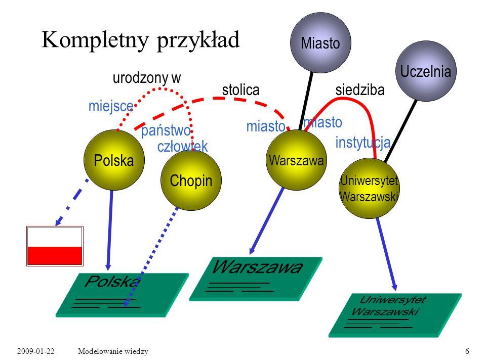 2009-01-22Modelowanie wiedzy17 Budowanie ontologii w RDF RDF definiuje podstawowy zestaw pojęć, który może być użyty do modelowania informacji i budowy ontologii.